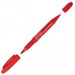 Маркер перманентный Office Space, 0.8-2мм, пулевидный наконечник, двухсторонний, красный