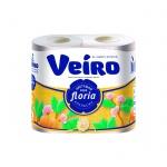 Туалетная бумага Veiro Floria апельсин, белая с оранжевым тиснением, 2 слоя, 4 рулона, 25м
