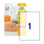 Этикетки адресные Avery Zweckform QuickPeel L7567-25, прозрачные, 210x297мм, 1шт на листе А4, 25 листов, 25шт, для копир/ цветной лазерной печати