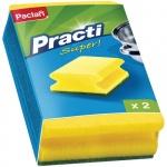 Губка для мытья посуды Paclan Practi поролоновые с абразивным слоем, желтые, 2шт/уп
