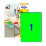 Этикетки самоклеящиеся Avery Zweckform 3472, зеленые, 210x297мм, 1шт на листе А4, 100 листов, 400 шт
