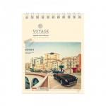 Блокнот Office Space Города Retro Voyage, А6, 40 листов, в клетку, на спирали, мелованный картон