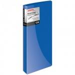Визитница Berlingo на 128 визиток, синяя, 110х250мм, пластик