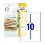 Этикетки адресные Avery Zweckform QuickPeel J4722-25, прозрачные, 96x50.8мм, 10шт на листе А4, 25 листов, 250шт, для струйной печати