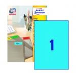 Этикетки самоклеящиеся Avery Zweckform 3471, голубые, 210x297мм, 1шт на листе А4, 100 листов, 100шт,