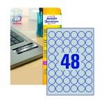 Этикетки высокостойкие Avery Zweckform L6129-20, серебряные, d=30мм, 48шт на листе А4, 20 листов, 960шт, для лазерной печати