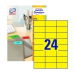 Этикетки Avery Zweckform 3451, желтые, 70х37мм, 24шт на листе А4, 100 листов, 2400шт, для всех видов