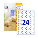 Этикетки прозрачные Avery Zweckform Crystal Clear L7780-25, глянцевые, d=40мм, 24шт на листе А4, 25 листов, 600шт, для копир/ цветной лазерной печати
