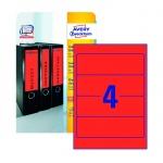Этикетки для папок Avery Zweckform, 4шт на листе А4, красный, 80 шт