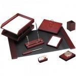 Набор настольный Delucci 9 предметов, красное дерево, с часами