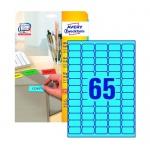 Этикетки удаляемые Avery Zweckform L4791-20, голубые, 38 x 21.2мм, 65шт на листе А4, 20 листов, 1300