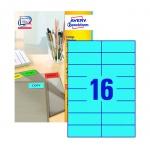 Этикетки Avery Zweckform 3453, голубые, 105x37мм, 16шт на листе А4, 100 листов, 1600шт, для всех вид