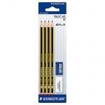 Набор чернографитных карандашей Staedtler Noris Noris Club, HB х 4шт + 2 предмета, 120S1BK4D