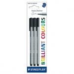 Набор ручек капиллярных Staedtler Triplus Liner 334-9BK3, 0.3мм, 3 шт/уп, черный