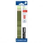 Набор чернографитных карандашей Staedtler Noris Eco HB х 1шт + 2 предмета, 18030SBK-1, с ластиком и