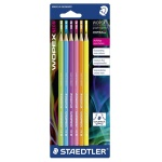 Набор чернографитных карандашей Staedtler Wopex Neon НВ, ассорти, 6шт, без ластика