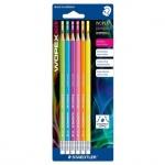 Набор чернографитных карандашей Staedtler Wopex Neon НВ, ассорти, 6шт, с ластиком