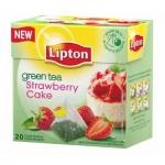 Чай Lipton, зеленый, в пирамидках, 20 пакетиков, Strawberry Cake