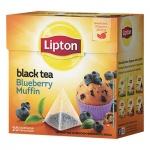 Чай Lipton, черный, в пирамидках, 20 пакетиков, Blueberry Muffin