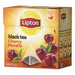 Чай Lipton, черный, в пирамидках, 20 пакетиков, Cherry Morello