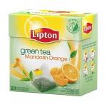 Чай Lipton Mandarin Orange, зеленый, в пирамидках, 20 пакетиков