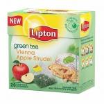 Чай Lipton, зеленый, в пирамидках, 20 пакетиков, Vienna Apple Strudel