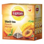 Чай Lipton, черный, в пирамидках, 20 пакетиков, Peach Mango