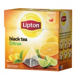 Чай Lipton, черный, в пирамидках, 20 пакетиков, Citrus