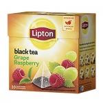 Чай Lipton, черный, в пирамидках, 20 пакетиков, Grape Raspberry
