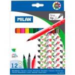 Фломастеры Milan 610 12 цветов, смываемые