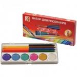 Набор для рисования Луч №5, акварель 12 цветов медовая, 6 цветов перламутровая, 6 цветов карнадаши восковые, кисть №3