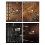 Тетрадь общая Magic Lines Кожа и металл, A5, 48 листов, в клетку, на скрепке, мелованный картон/ лак