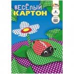 Цветной картон Апплика Веселый 6 цветов, А4, 6 листов, двухсторонний, горошек