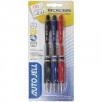 Набор ручек гелевых Crown 3шт, 0.5мм, черная, синяя, красная
