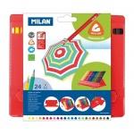 Набор цветных карандашей Milan 231, трехгранные, 24 цвета