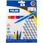 Фломастеры Milan 6112 12 цветов, трехгранные, смываемые