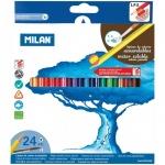 Набор акварельных карандашей Milan 431 24 цвета, трехгранные, с кистью, 742324
