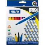 Фломастеры Milan 6112 24 цвета, трехгранные, смываемые