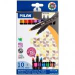 Фломастеры Milan 6310 10 цветов, двухсторонние, смываемые