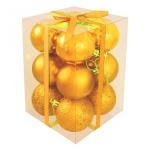 Набор елочных шаров Вельт 50мм, 12шт, золотые, пластик