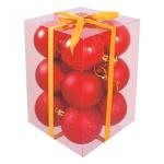 Набор елочных шаров Вельт 50мм, 12шт, красные, пластик