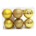 Набор елочных шаров Вельт 60мм, 6шт, золотые, пластик
