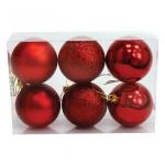 Набор елочных шаров Вельт 60мм, 6шт, красные, пластик