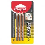 Набор чернографитных карандашей Maped Black Pep's Mini HB, 3шт, 850211