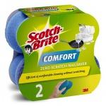 Губка для мытья посуды Scotch-Brite Comfort Деликат поролоновые, 13х6.5см, синие, 2шт/уп