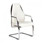 Кресло посетителя Chairman Basic V иск. кожа, белая, черная, на полозьях