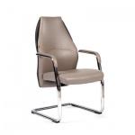 Кресло посетителя Chairman Basic V иск. кожа, бежевая, серая, на полозьях