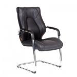 Кресло посетителя Chairman Fuga V иск. кожа, черная, на полозьях