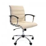 Кресло руководителя Chairman 760-M иск. кожа, крестовина хром, низкая спинка, бежевая кожа