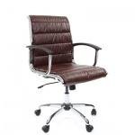 Кресло руководителя Chairman 760-M иск. кожа, крестовина хром, низкая спинка, коричневая кожа